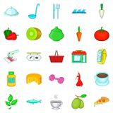 Food for training icons set, cartoon style. Food for training icons set. Cartoon set of 25 food for training vector icons for web isolated on white background Royalty Free Stock Image