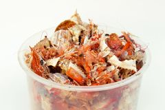 Food trash, crab shell and shrimp shell stock image
