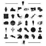Food, travel, England and other web icon in black style. parking, animal icons in set collection. Royalty Free Stock Images