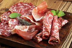 Food tray with delicious salami, raw ham and italian crudo or ja. Mon. Meat platter with selection Royalty Free Stock Image