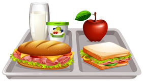 Food tray with milk and sandwiches. Illustration Royalty Free Stock Photo