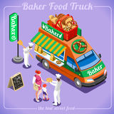 Food Truck Bakery 3D Isometric Vehicles Royalty Free Stock Photography