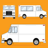 Food Truck Blank. White food truck template with various views stock illustration