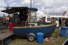 Food truck boat in Amsterdam. Amsterdam, Netherlands-May 14, 2016: food truck boat in Amsterdam royalty free stock photos
