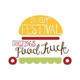 Food Truck Cafe Food Festival Promo Sign, Colorful Vector Design Template With Burger Vehicle Silhouette. Fast Food Restaurant On Wheels Event Label Flat Stock Image