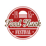 Food Truck Cafe Food Festival Promo Sign, Colorful Vector Design Template In Red Color In Round Frame. Fast Food Restaurant On Wheels Event Label Flat Bright Royalty Free Stock Photography