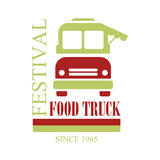 Food Truck Cafe Food Festival Promo Sign, Colorful Vector Design Template In Red And Green With Vehicle Silhouette. Fast Food Restaurant On Wheels Event Label Royalty Free Stock Images