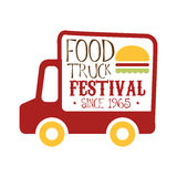 Food Truck Cafe Food Festival Promo Sign, Colorful Vector Design Template With Red Vehicle Silhouette. Fast Food Restaurant On Wheels Event Label Flat Bright Royalty Free Stock Photo