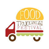 Food Truck Cafe Food Festival Promo Sign, Colorful Vector Design Template With Vehicle With Burger For Trailer. Silhouette. Fast Food Restaurant On Wheels Event Royalty Free Stock Photography