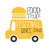 Food Truck Cafe Food Festival Promo Sign, Colorful Vector Design Template With Vehicle With Burger For Trailer. Silhouette. Fast Food Restaurant On Wheels Event Stock Photos