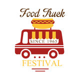 Food Truck Cafe Food Festival Promo Sign, Colorful Vector Design Template With Vehicle And Hot Dog Silhouette. Fast Food Restaurant On Wheels Event Label Flat Royalty Free Stock Photos