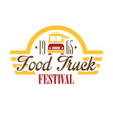 Food Truck Cafe Food Festival Promo Sign, Colorful Vector Design Template With Vehicle Silhouette With Establishment. Date. Fast Food Restaurant On Wheels Event Royalty Free Stock Image