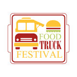 Food Truck Cafe Food Festival Promo Sign, Colorful Vector Design Template With Vehicle Silhouette In Square Frame. Fast Food Restaurant On Wheels Event Label Royalty Free Stock Photos