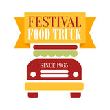 Food Truck Cafe Food Festival Promo Sign, Colorful Vector Design Template With Vehicle Silhouette And Yellow Ribbon. Fast Food Restaurant On Wheels Event Label Royalty Free Stock Photography