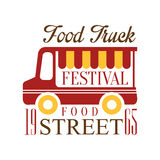 Food Truck Cafe Street Food Festival Promo Sign, Colorful Vector Design Template With Vehicle Silhouette. Fast Food Restaurant On Wheels Event Label Flat Royalty Free Stock Photography