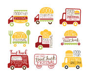 Food Truck Cafe Street Food Promo Signs Collection Of Colorful Vector Design Templates With Vehicle Silhouette Stock Photos