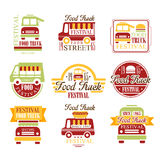 Food Truck Cafe Street Food Promo Signs Set Of Colorful Vector Design Templates With Vehicle Silhouette Stock Photography