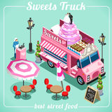 Food Truck Candy 3D Isometric Vehicles. Sweet Breakfast Food Truck Delivery Master. Street Food Chef Web Template. 3D Flat Isometric Vehicles Food Truck Stock Photos