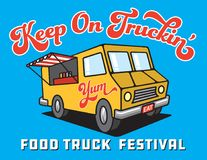 Food Truck Cartoon Vector Illustration. Stock Photo