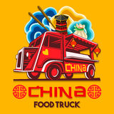 Food Truck Chinese China Fast Delivery Service Vector Logo. Food truck logotype for Chinese china restaurant fast delivery service or food festival. Truck van vector illustration