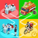 Food Truck Chinese Restaurant Home Delivery Vector Isometric Stock Image