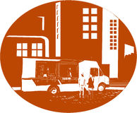 Food Truck City Buildings Oval Woodcut Stock Photo