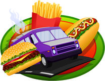 Food Truck concept design. With Burger, Hot Dog & French Fries Stock Photos