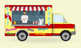 Food truck with a cook inside. Fast-food sailing car. Street nosh menu on wheels concept. Stock Images
