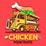 Food Truck Crispy Fried Chicken Wings Fast Delivery Service Vect. Food truck logotype for crispy fried chicken wings fast delivery service or summer food Stock Images