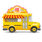 Food Truck. Cute vintage yellow food truck with advertising sign board on the roof. Isolated on white background. Vector illustration stock illustration