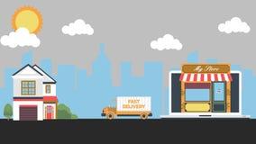 A food truck delivering food.