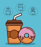 Food truck design. Coffee drink and donut icon with food trucks icons around over blue background colorful design vector illustration Stock Image