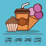 Food truck design. Coffee drink and ice cream icon and food trucks icons around over blue background colorful design vector illustration Royalty Free Stock Images