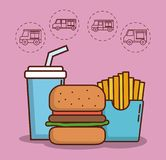 Food truck design. Hamburger and french fries with food trucks icons around over pink background colorful design vector illustration Royalty Free Stock Photos