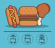 Food truck design. Hot dog and hamburger icon with food trucks icons around over background colorful design vector illustration Stock Photo