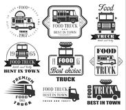 Food Truck Emblems, Icons and Badges Stock Image