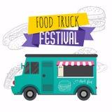 Food truck festival brochure. Flat design style modern vector il stock illustration