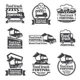 Food truck festival emblems and logos vector set Royalty Free Stock Photography