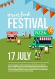 Food truck festival event flyer. Street food poster. Food market Vector illustration Royalty Free Stock Images