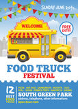 Food Truck Festival Poster. Design template. Cute vintage food truck on blue sky background. Vector illustration. For holiday flyers and banners design Stock Images