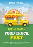 Food Truck Festival Poster. Design template. Cute vintage food truck on cityscape background. Vector illustration. For holiday flyers and banners design Royalty Free Stock Photos
