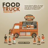 Food truck festival poster with gourmet,Burger theme Stock Image