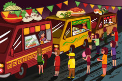 Food truck festival. A vector illustration of people in food truck festival Royalty Free Stock Photos