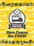 Food truck festival vector poster Stock Photography