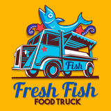 Food Truck Fish Shop Delivery Service Vector Logo Royalty Free Stock Photo