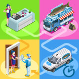 Food Truck Fish Shop Home Delivery Vector Isometric People. Fish shop take away food truck and white car or van for fast home delivery vector infographic Royalty Free Stock Images