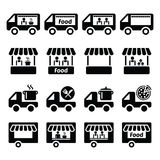 Food truck, food stand and food trailer icons set Stock Images