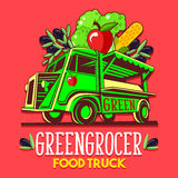 Food Truck Fruit Seller Greengrocer Stand Fast Delivery Service. Food truck logotype for organic fruit vegetable seller greengrocer stand delivery service or Royalty Free Stock Photo