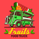 Food Truck Fruit Stand Fast Delivery Service Vector Logo Stock Image