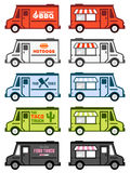 Food truck graphics. Set of food truck illustrations and graphics Royalty Free Stock Photos